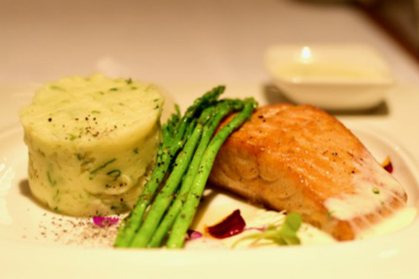 Grilled salmon sauteed asparagus garlic mash potato with lobster cream sauce