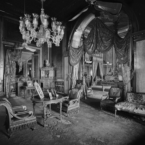 Card room of the Gentlemen's Salon, Falaknuma Palace, Hyderabad, 1976, Silver gelatin print