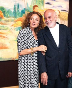 Dianne von Furstenburg with Francesco Clemente at The Rubin Museum