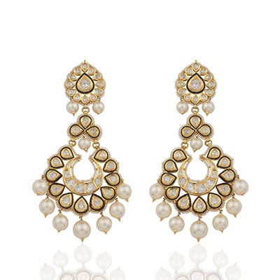 Dillano Jewels earrings with polki and diamonds, in 18-carat gold