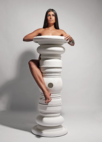 Pillar Pods, Stackable seats inspired by pillars