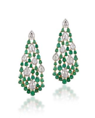Earrings by Narayan Jewellers by Ketan & Jatin Chokshi, Vadodara set with Gemfields Zambian Emeralds