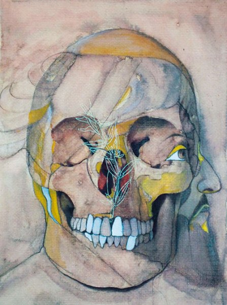F. Zahra Hassan, Annihilation (King) - I, 2013, watercolour pigments on wasli paper, 26.7 x 19.1 cm