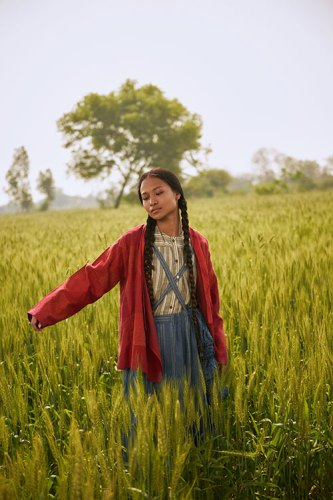 Shirt dress, jacket, scarf, all from Indigene; suspender skirt, from Bias.