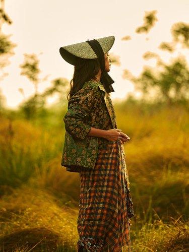 Blazer, by Suket Dhir; dress, by Mala Singh; scarf (worn as skirt), from Eka; hat, stylist's own.