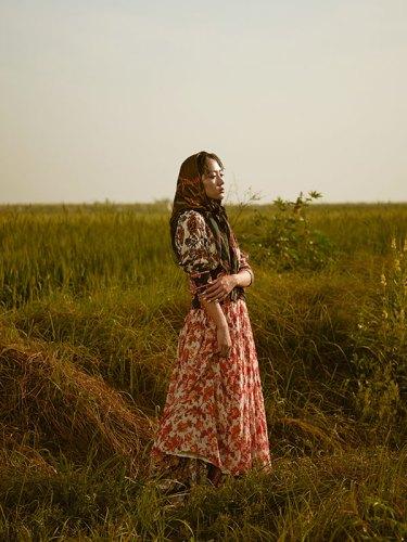 Dress, skirt, both from Hemant & Nandita; scarf, stylist's own.