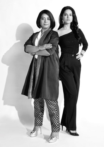 Standing tall: Faye D'Souza and Sunny Leone