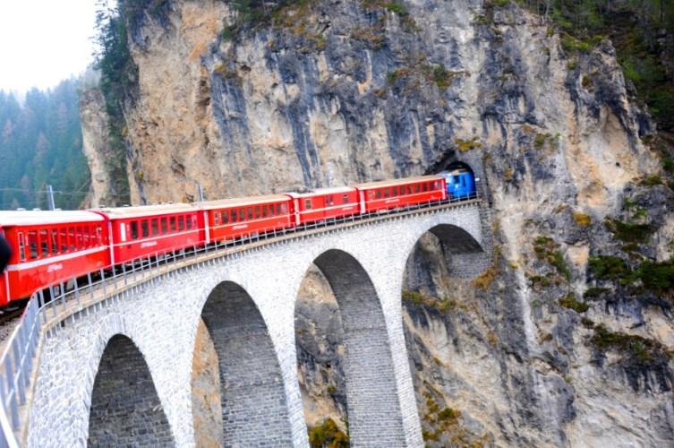 Scenic train ride from Zurich to Geneva
