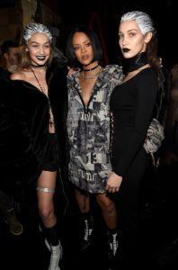 Gigi Hadid, Rihanna and Bella Hadid at Fenty x Puma
