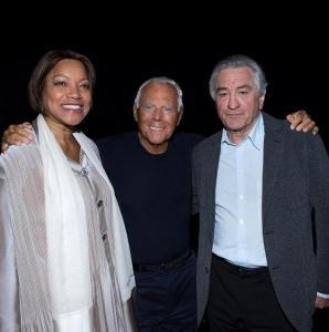 Grace Hightower, Giorgio Armani, Robert De Niro at Emporio Armani