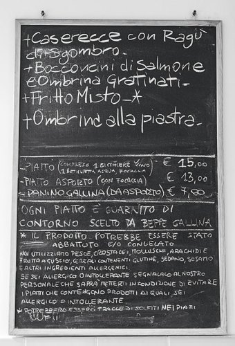 The daily menu, handwritten on the blackboard that changes every day