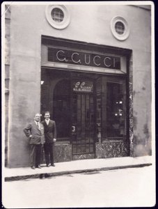 Guccio and Rodolfo Gucci at the Florence store