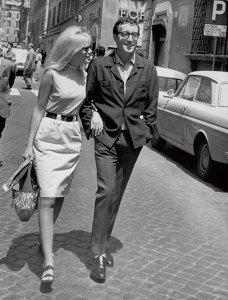 Britt Ekland and Peter Sellers in Rome, 1969