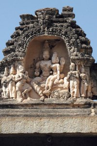 Relief carving at the entrance of Virupaksha Temple