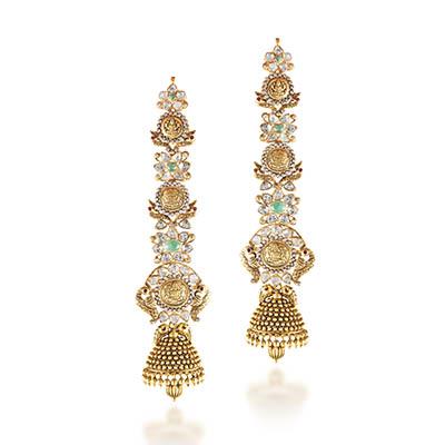 Hazoorilal Legacy earrings with polki, in 22-carat gold