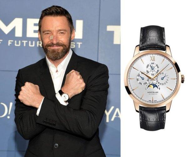 Hugh Jackman turned heads at a movie premiere this year with his Montblanc Meisterstück Heritage Perpetual Calendar timepiece.