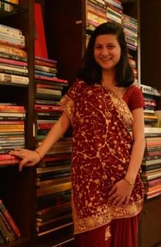Huzan Tata wore a gara sari