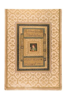 Jahangir holding a portrait of Virgin Mary