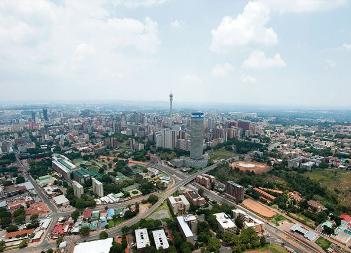 View of the downtown Johannesburg skyline from the 50-floor Carlton Centre, the tallest office building in Africa