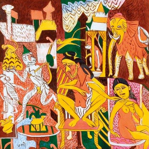 Art Musings, KG Subramanyan, Varanasi I, Gouache, Acrylic On Canvas, 30 x 30