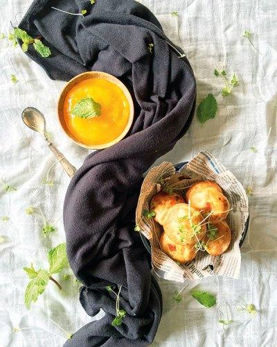 Jalapeño Cheese Paniyarams with Mango Star Anise Jam