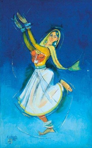 Kathak dancer (1973), Oil on canvas, 21 x 33 in