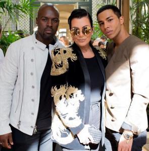 Corey Gamble, Kris Jenner, Olivier Rousteing at Balmain