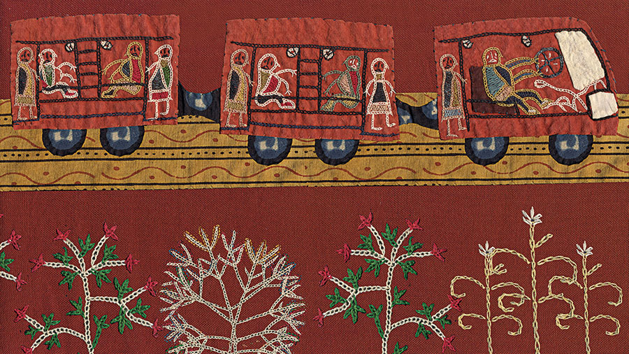 Embroidery by Meghi Ben Maria created to be animated in Nina Sabnani's Tanko Bole Chhe