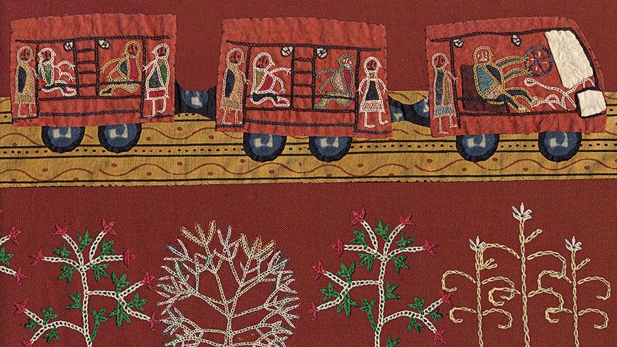 Embroidery by Meghi Ben Maria created to be animated in Nina Sabnani's Tanko Bole Chhe
