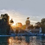 A magnificent view at dawn of the Monument to Alfonso XII located in the Buen Retiro (El Retiro) Park, Madrid
