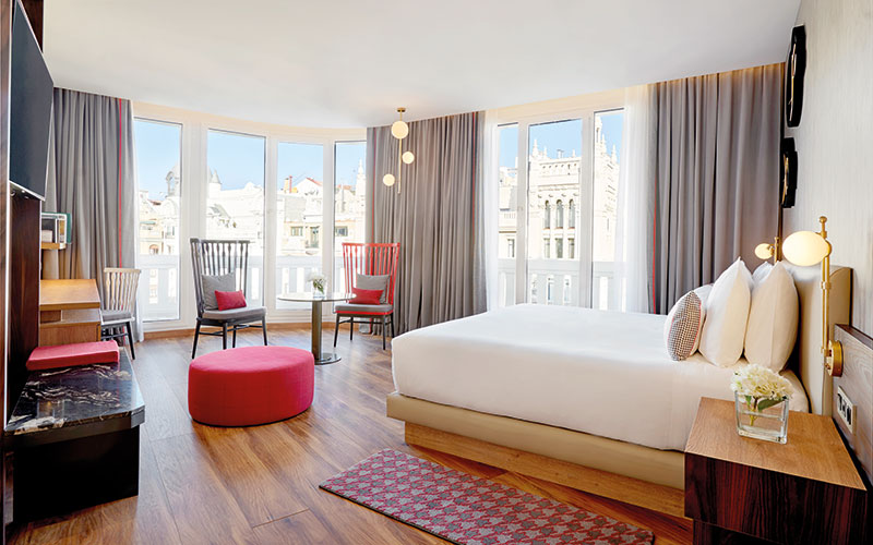 A well-appointed room with a view at the Hyatt Centric Gran Via Madrid