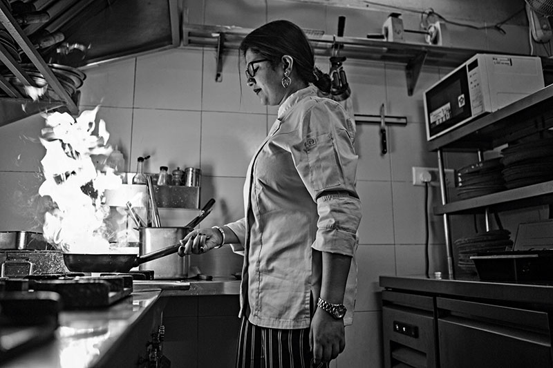 Megha Kohli, mid-service, in the kitchen at Lavaash by Saby