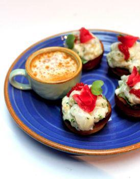 Mini lobster brioche with lobster bisque