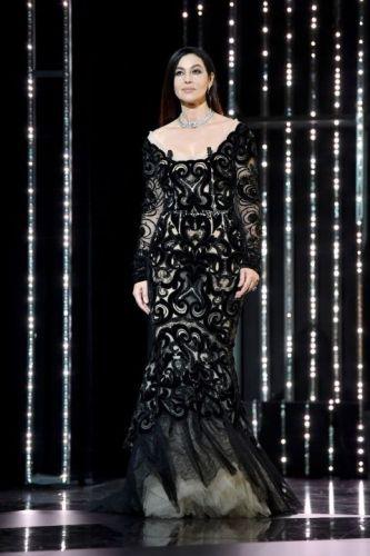 Monica Bellucci in Dolce & Gabbana and Cartier jewellery