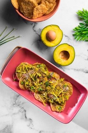 Multigrain Sev Puri with Avocado Salsa