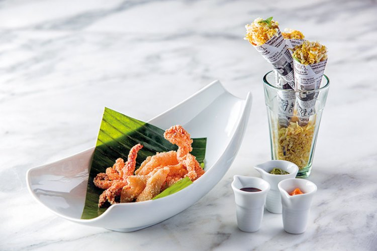An innovative squid preparation at Indian Accent