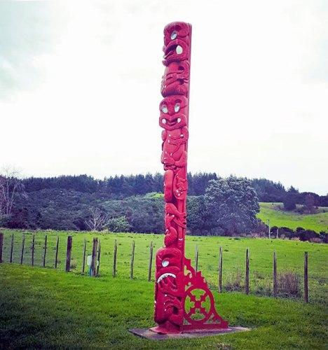 Maori Wooden Totem Pole