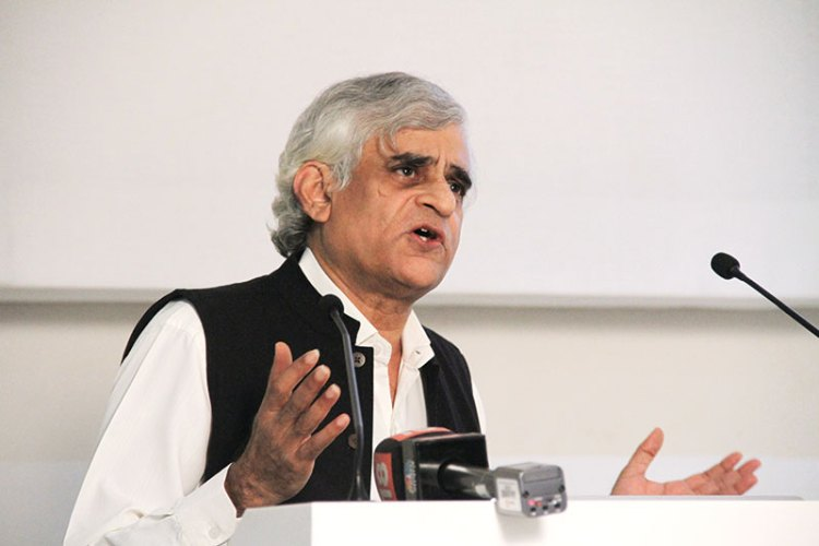 P. Sainath speaking at the Godrej India Culture Lab