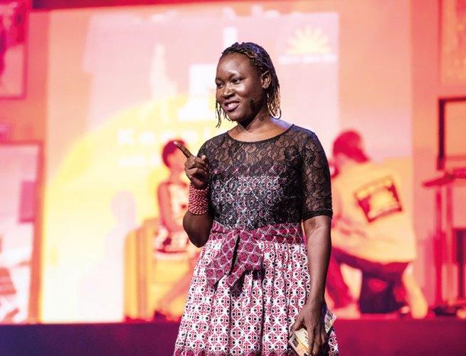 Adong Judith speaking at TEDGlobal 2017 in Arusha, Tanzania