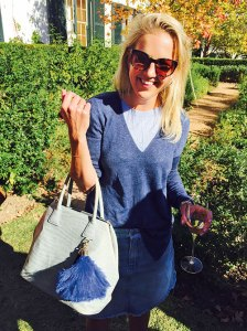 Hanneli Rupert carrying a bag from her Okapi line at her wine estate