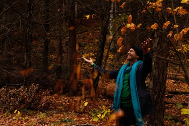 Parmesh Shahani enjoying the fall foliage in the Berkshire mountains