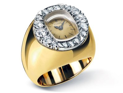 Piaget Ring Watch in Yellow Gold Set with 16 Diamonds