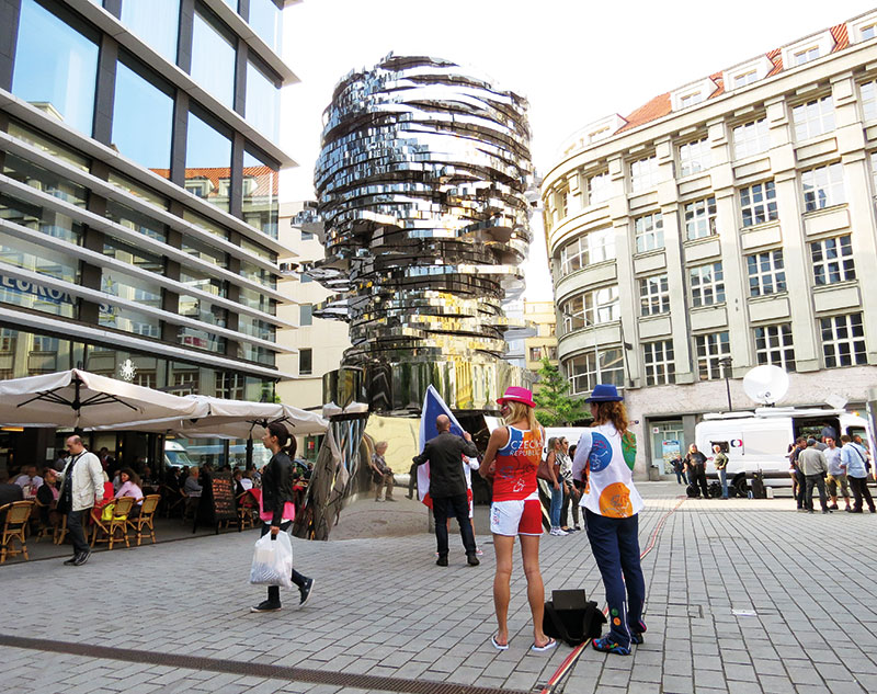 David cerny's kinetic head of franz kafka was installed in 2014 outside a busy shopping centre, Prague, Czech Republic