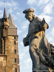 Baroque statue: guarding Charles Bridge