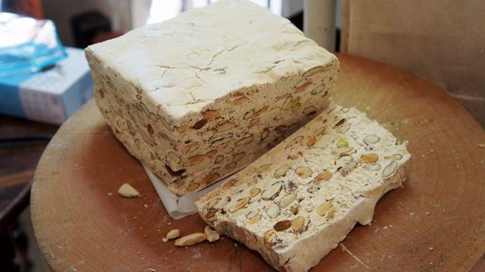 French nougat laced with honey and almonds