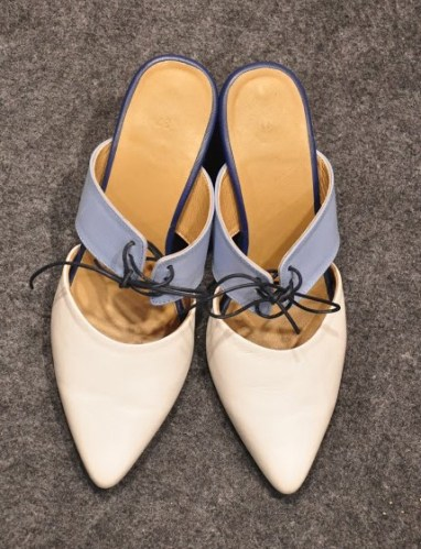 Pointed open back heels from Quo