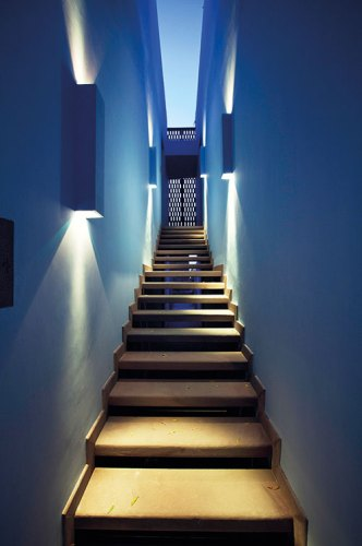 Walkway To The Rooftop Bar Bathed In Jodhpur Blues