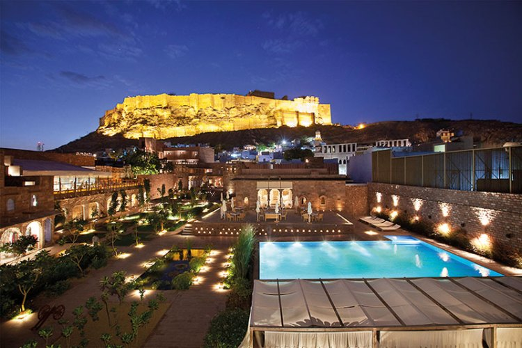 View Of The Haveli Courtyard, Pool And Fort At Night