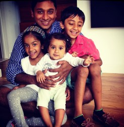 Raghava KK and his adorable kids in their Brooklyn home