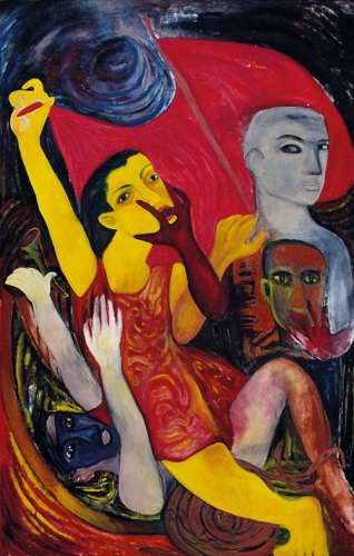 The Crossing, Acrylic and Oil on Canvas, 1990